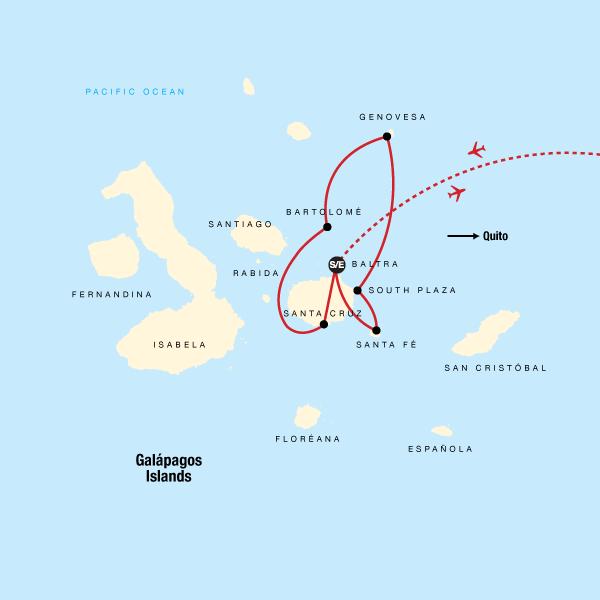 Map of the route for Galápagos Land & Sea — North & Central aboard Estrella del Mar