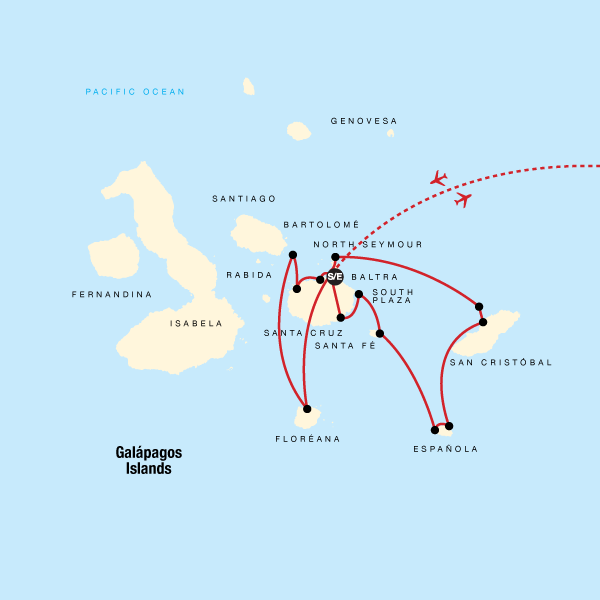 Map of the route for Galápagos — Central, South & East Islands aboard the Yolita