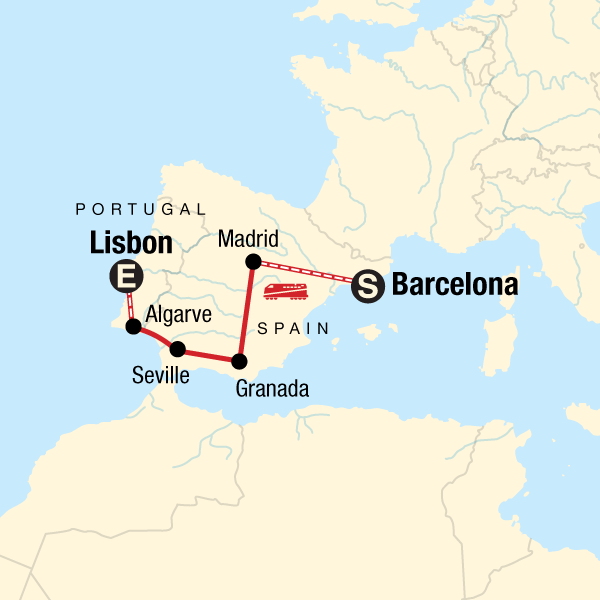 Map Of Spain With Barcelona.Spain