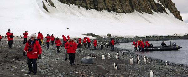 Travellers ashore Aitcho Island with penguins in Antarctica