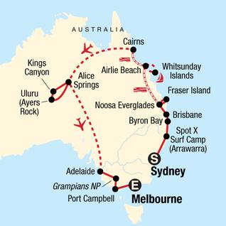 Map of Australia Encompassed: Sand Islands & Sunsets