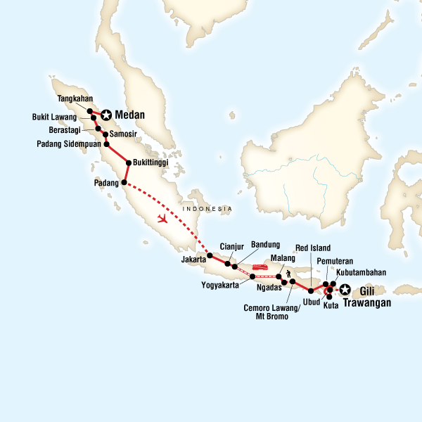 Indonesia adventure sumatra java bali in indonesia asia g map of the route for indonesia adventure sumatra java bali gumiabroncs Gallery