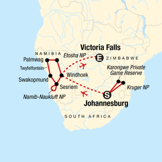 Map of Kruger, Victoria Falls & Namibia