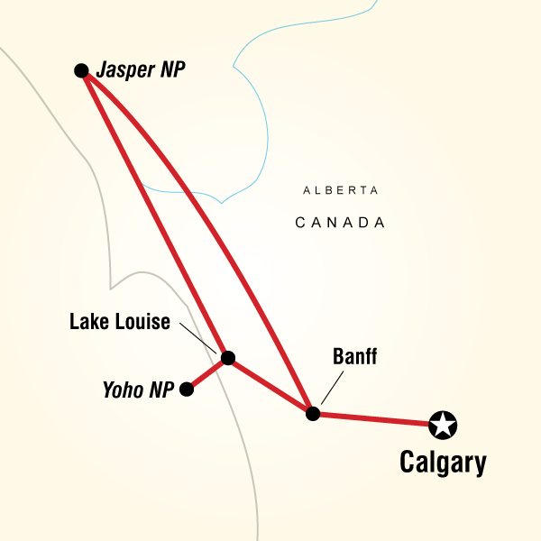Map of the route for Canadian Rockies Active Escape