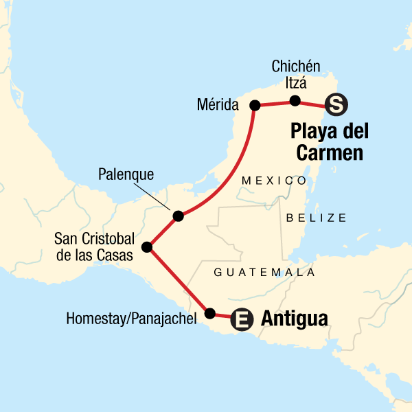 Map Of Central America Yucatan Peninsula.Mayan Trail