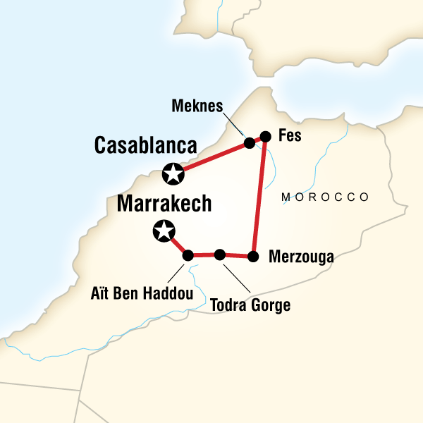 Map of the route for Morocco Kasbahs & Desert - Teenage Adventure