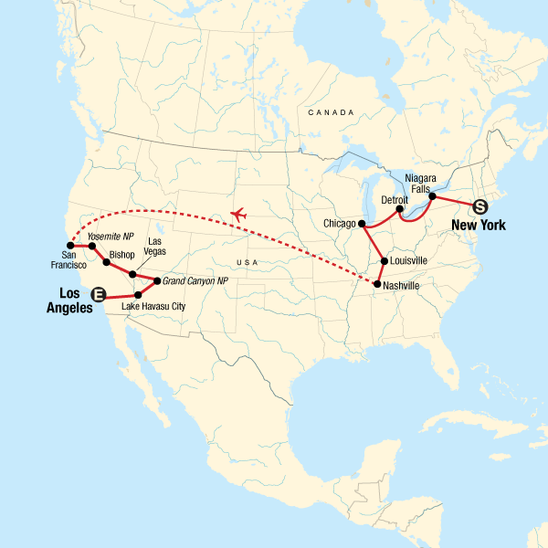 Usa Road Trip Express New York To Los Angeles In United