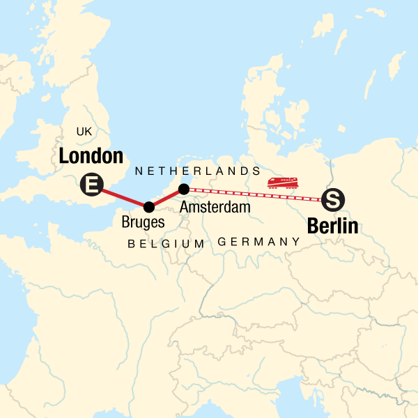 Map Of The Netherlands And Germany.Berlin To London On A Shoestring