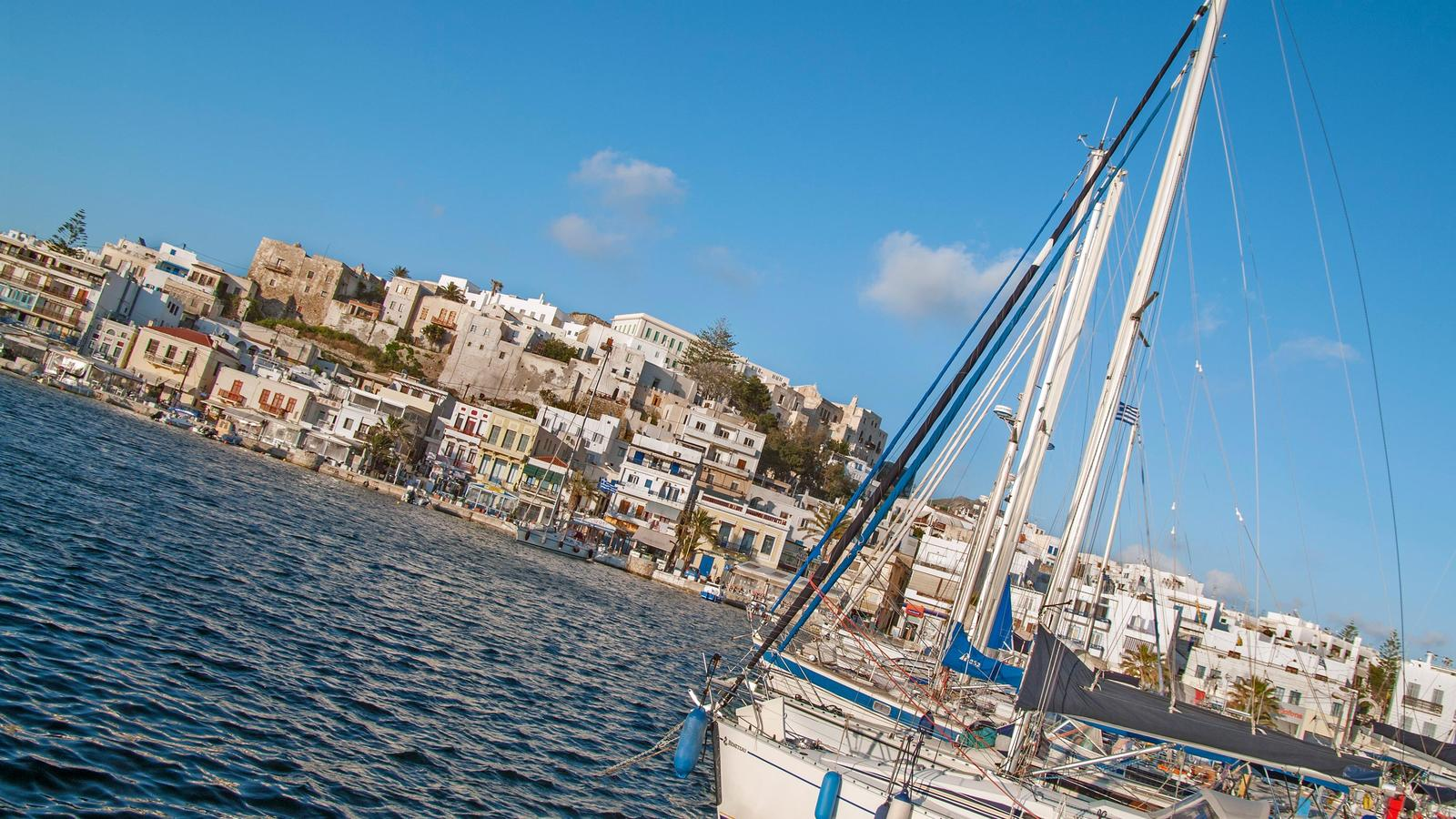 Your boat resting at the Naxos harbour in Greece