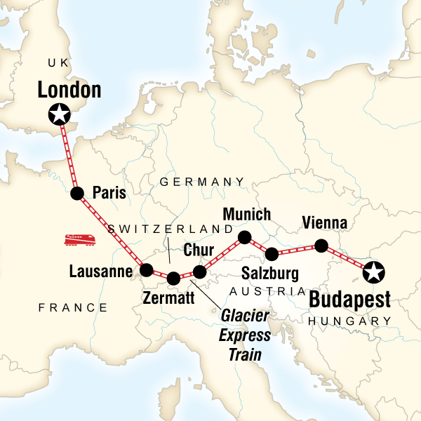 Map of the route for Europe by Rail with the Glacier Express