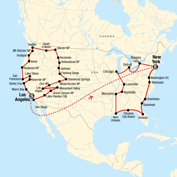 USA Road Trip LA to New York in United States North