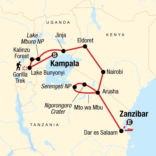 Map Of Africa Zanzibar.East Africa Overland