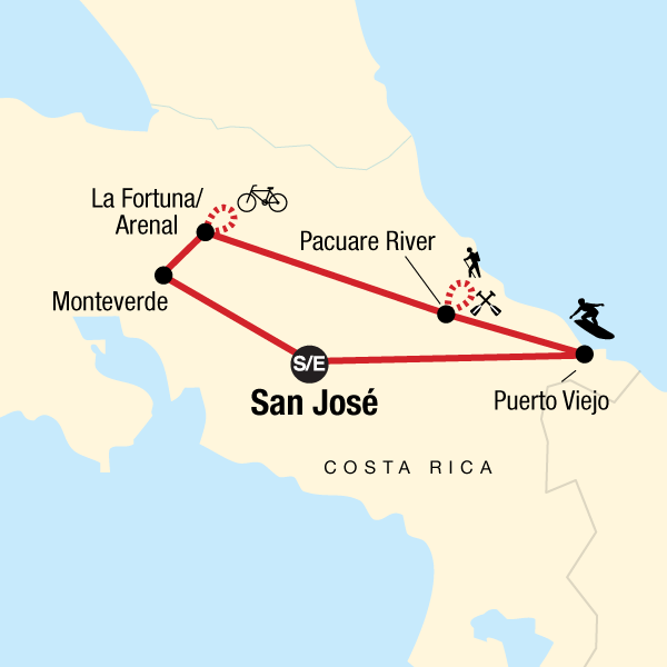 Map of the route for Costa Rica Active Adventure