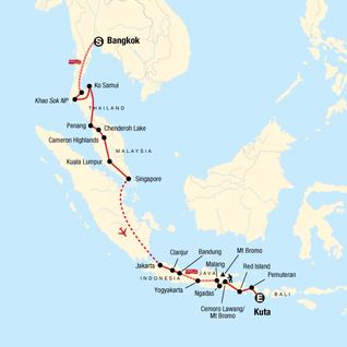 Map of Bangkok to Kuta: Summits & Sunsets