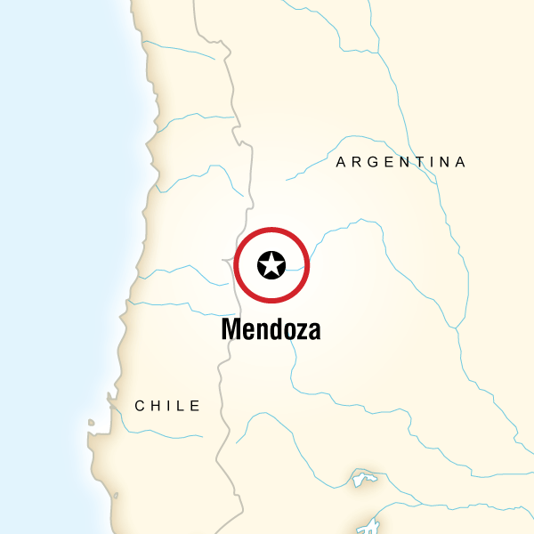 Map of the route for Mendoza Wineries Independent Adventure