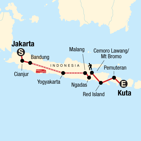Map of the route for Indonesia: Hammocks & Hikes