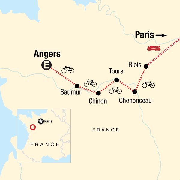 Map of the route for Loire Valley Cycling