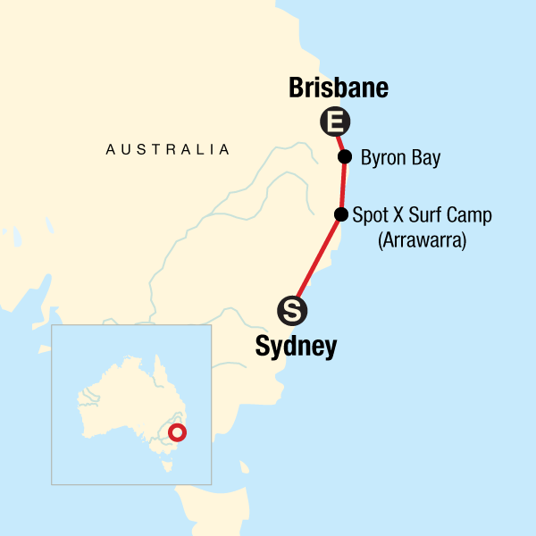 Map of the route for Sydney to Brisbane Experience: Koalas & Surfing