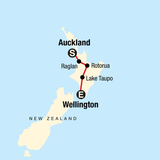 Map of New Zealand: Best of the North Island