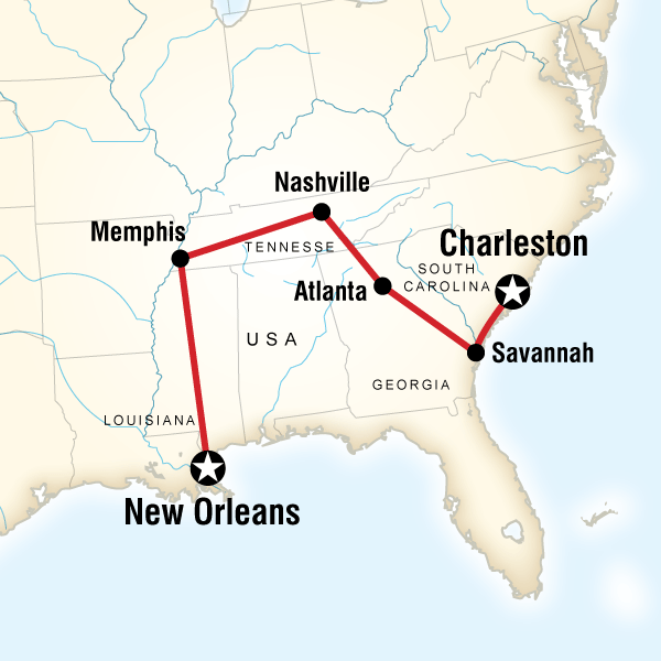 Map of the route for Highlights of the Deep South