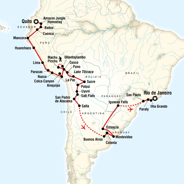 The Great South American JourneyQuito To Rio Adventure In Peru - Ecuador map south america