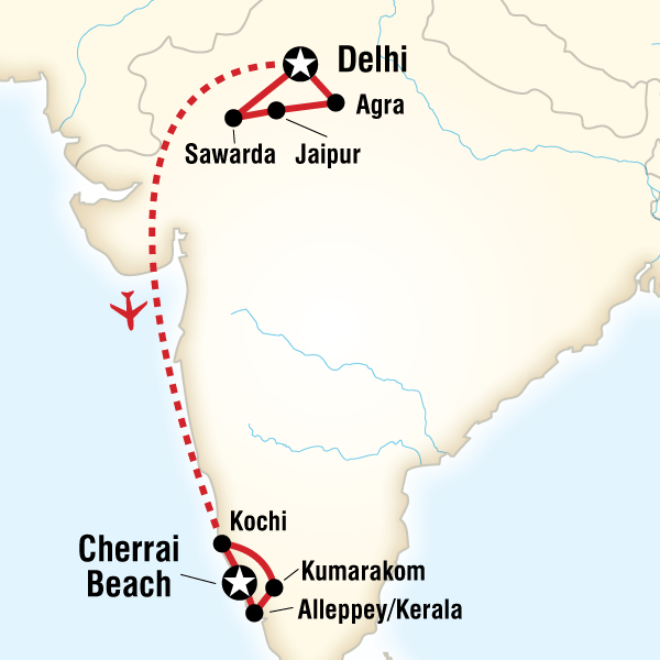 Map of the route for Highlights of India