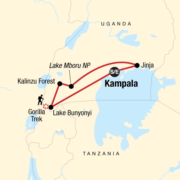 Map of the route for Uganda Overland: Gorillas & Chimps