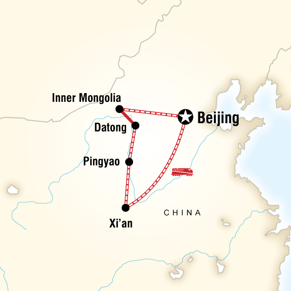 Map of the route for Hidden China & Inner Mongolia