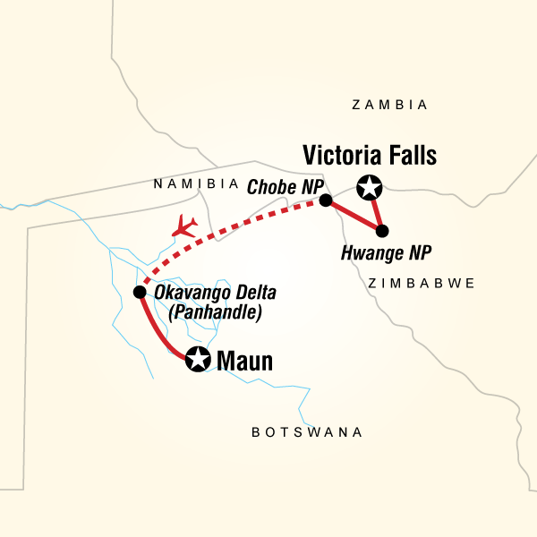 Cartina del tragitto per Botswana & Zimbabwe Safari