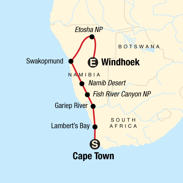 Map of the route for Cape and Namibia Adventure