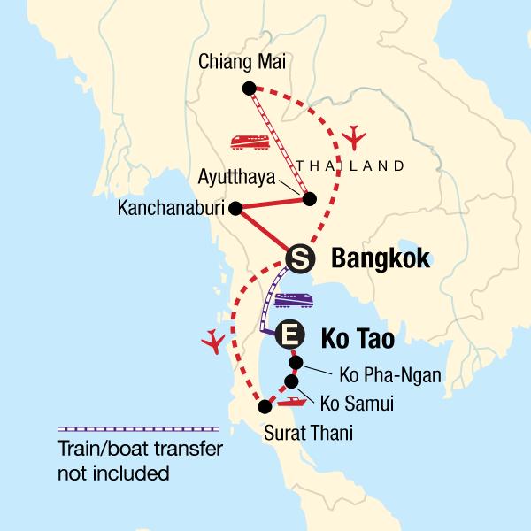 Kanchanaburi Thailand Map.Classic Thailand East Coast In Thailand Asia G Adventures