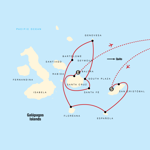 Map of the route for Galápagos — North, Central & South Islands aboard the Estrella del Mar