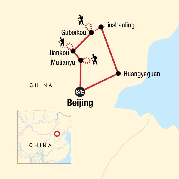 Chinesische Mauer Karte.Wandern Auf Der Chinesischen Mauer