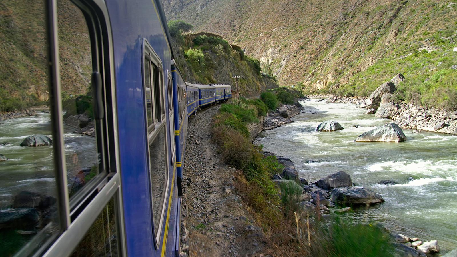 The scenic train ride to Machu Picchu