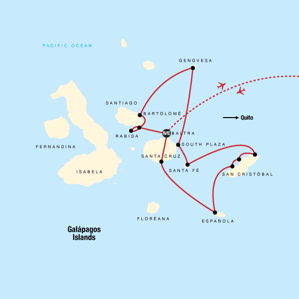 Map of the route for Galápagos – Central and East Islands aboard the Reina Silvia Voyager