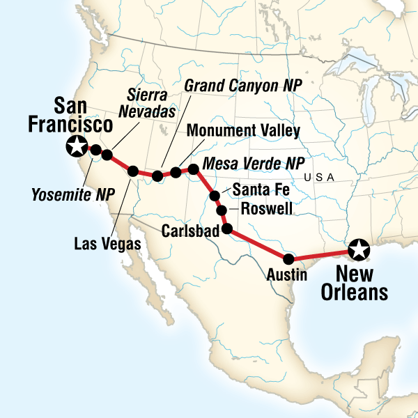 Map of the route for New Orleans to San Francisco Road Trip