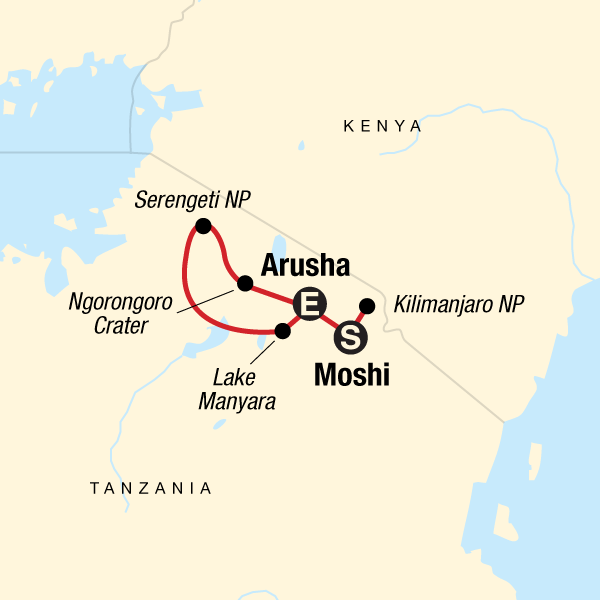 Map of the route for Kilimanjaro - Lemosho Route & Serengeti Adventure