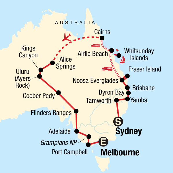 Australia Map Byron Bay.Australia Encompassed In Australia Australia Pacific G Adventures