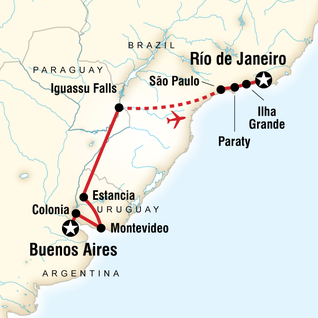 Map of In Search of Iguassu–Buenos Aires to Rio
