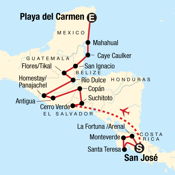 1b3d992e23a Map of the route for Best of Central America