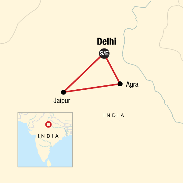 Map of the route for Golden Triangle Independent Adventure—Delhi, Agra & Jaipur