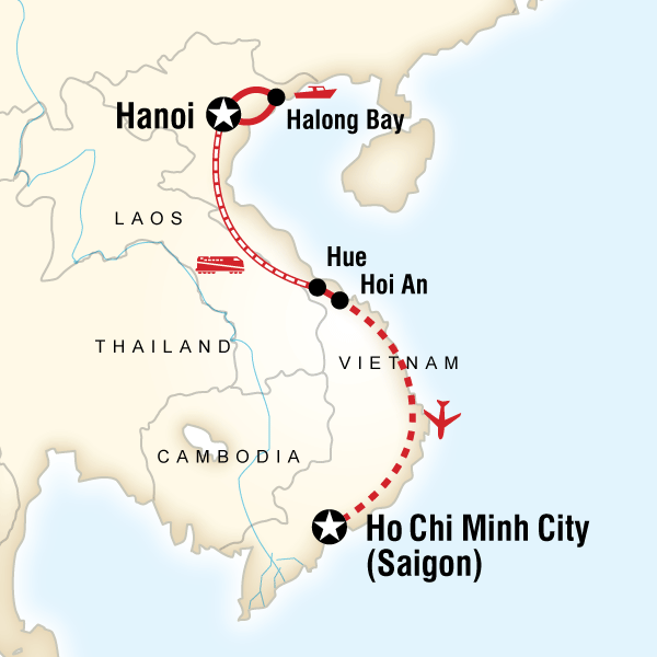 Map of the route for Classic Vietnam Hanoi to Ho Chi Minh City