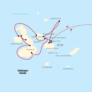 Map of Galápagos — North, West & Central Islands aboard the Yolita