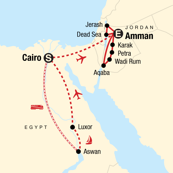 b6233b9be63257 Map of the route for Egypt   Jordan Adventure