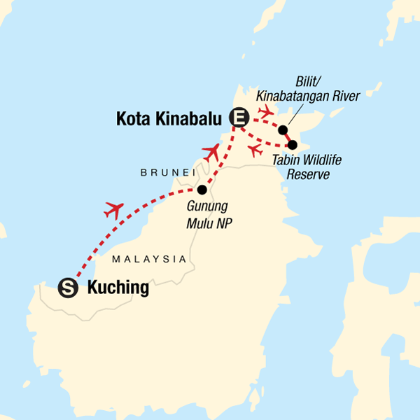 Map of the route for Best of Borneo