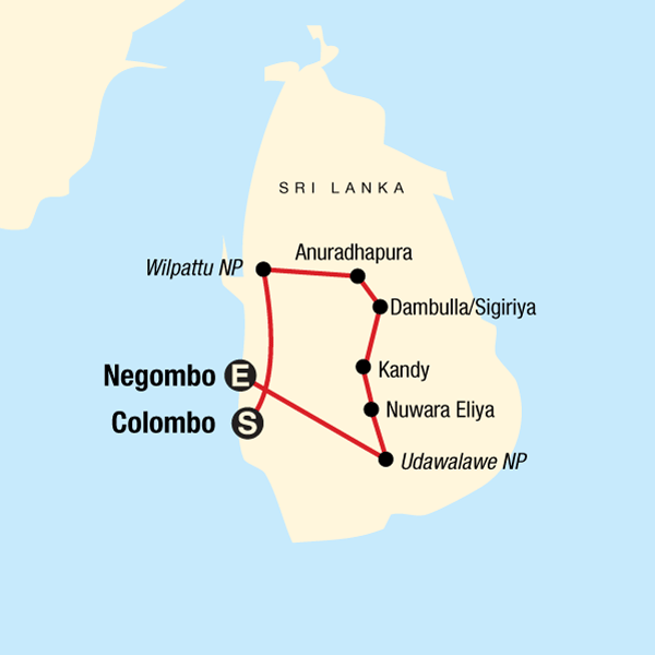 Map of the route for Discover Sri Lanka