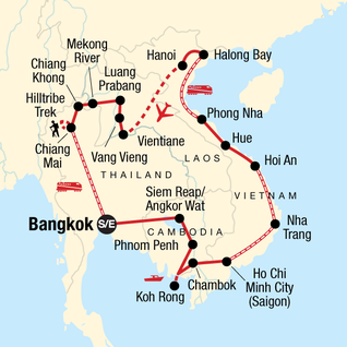 Map of Indochina: Northern Hilltribe Trekking & Beach Vibes