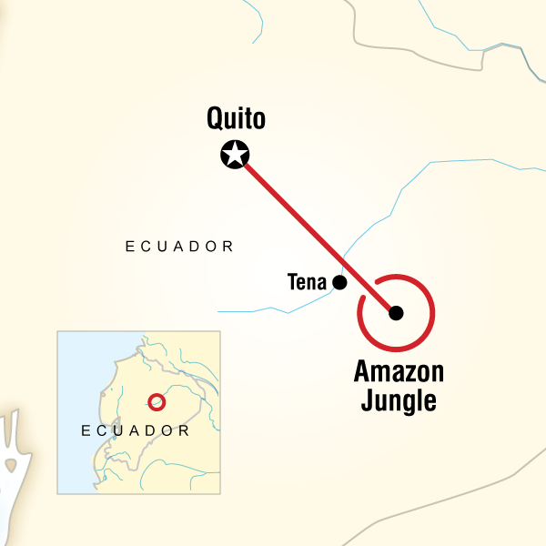 Local living ecuadoramazon jungle in ecuador south america g map of the route for local living ecuadoramazon jungle gumiabroncs Gallery