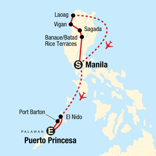 Map of Northern Philippines and Palawan Adventure