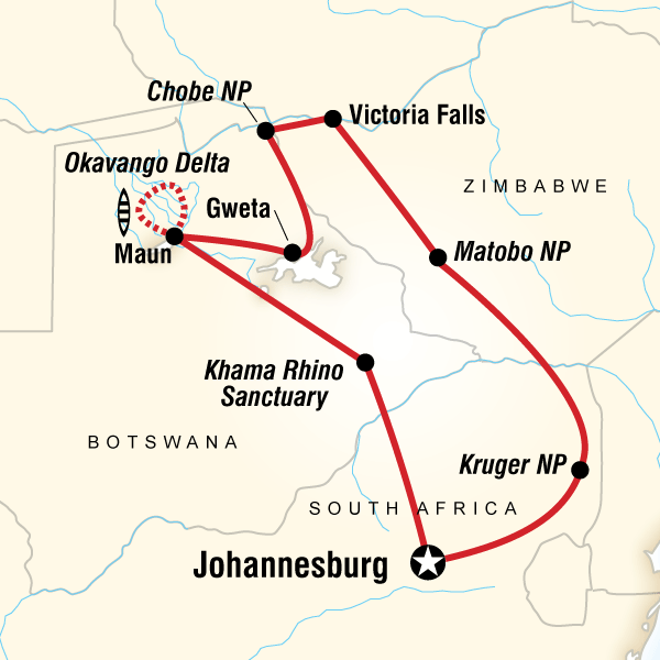 Botswana South Africa Map.Southern Africa Encompassed In Botswana Africa G Adventures